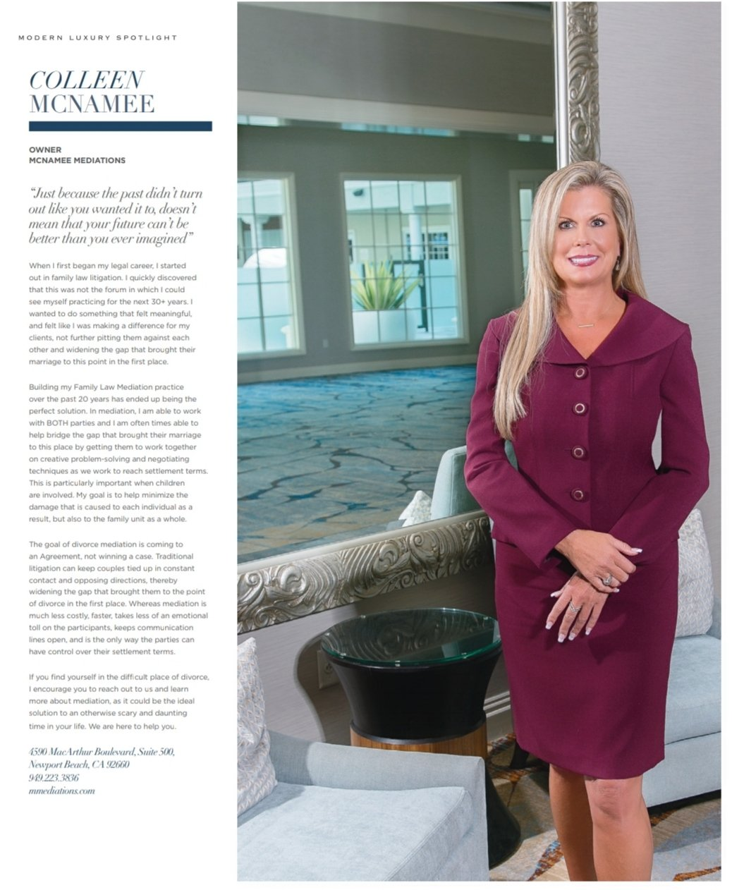 Colleen McNamee Featured in Riviera Magazine Orange County